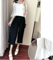 Lenient Women S T Shirt Seven Minute Trousers Two Piece Suit Chiffon Relaxed Summer Thin Material