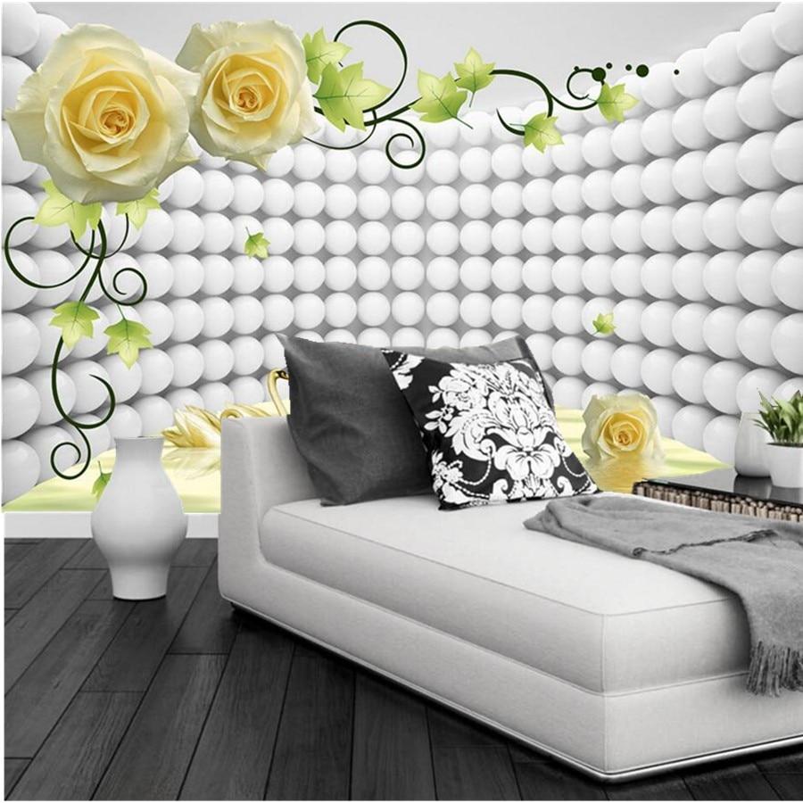 Custom modern wallpaper design,3D rose Swan papel de parede,hotel ...