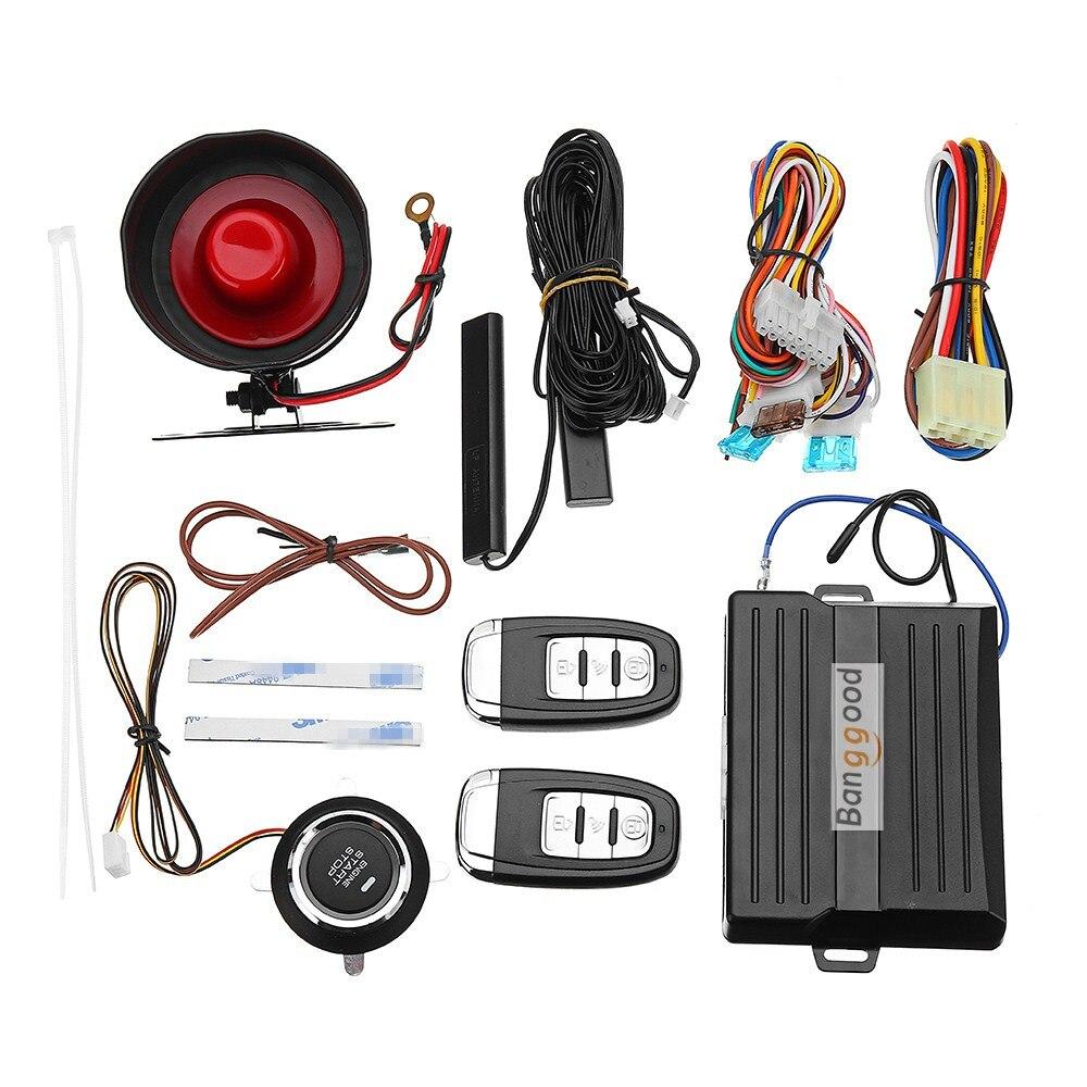 Universel voiture PKE passif sans clé entrée système d'alarme de sécurité dispositif antivol avec télécommande moteur bouton de démarrage