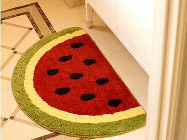 50*80cm Non Slip Kitchen Mat Water Absorbing Fruits Lemon Watermelon Half  Round