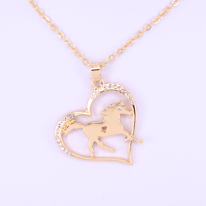 hzew animal horse pendant necklaces two colors heart  horse necklace gift