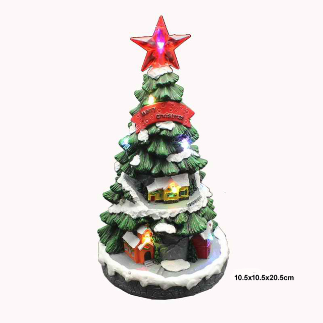 christmas collection decor gifts resin christmas tree with led light up music operated battery