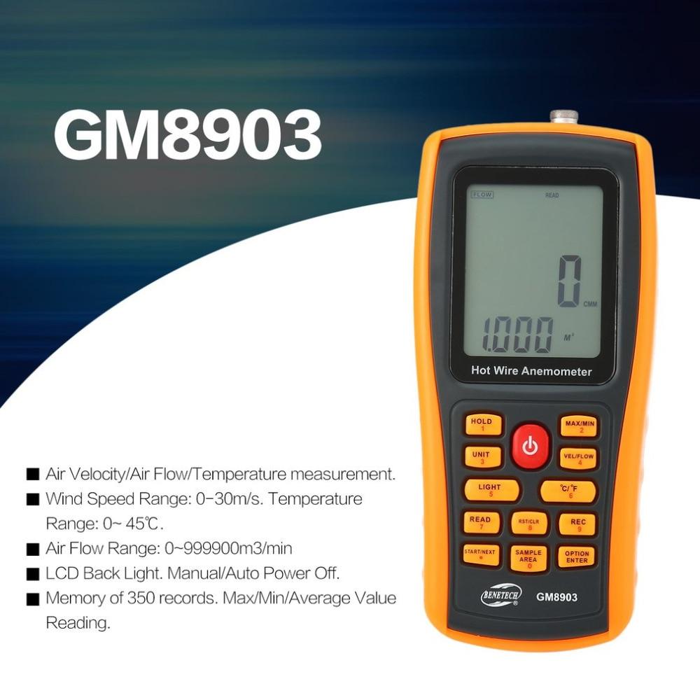 BENETECH GM8903 Портативный Hot Wire цифровой анемометр 0 ~ 30 м/с Air Температура метр 0 ~ 45C ветер Скорость потока тестер