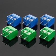20 шт./лот KF301-2P KF301-5.0-2P KF301 винт 2Pin 5,0 мм прямой контактный PCB винт Клеммная колодка Разъем синий и зеленый