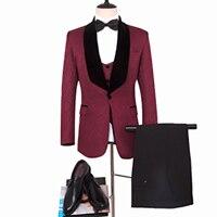 Портной Костюмы Блейзер темно красный свадебный костюм с принтом жениха смокинг жениха индивидуальный заказ Мужская куртка + черный Штаны +