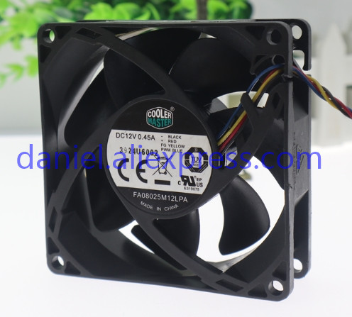 1 PCS COOLER MASTER Fan  FA08025M12LPA DC 12V 0.45A  8025 8CM 4 Pin