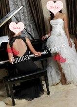 MORI-Free Shipping 2013 New Simple Elegant A-Line Strapless Floor Length Beaded Hi-Lo Organza White Train Formal Wedding Dresses