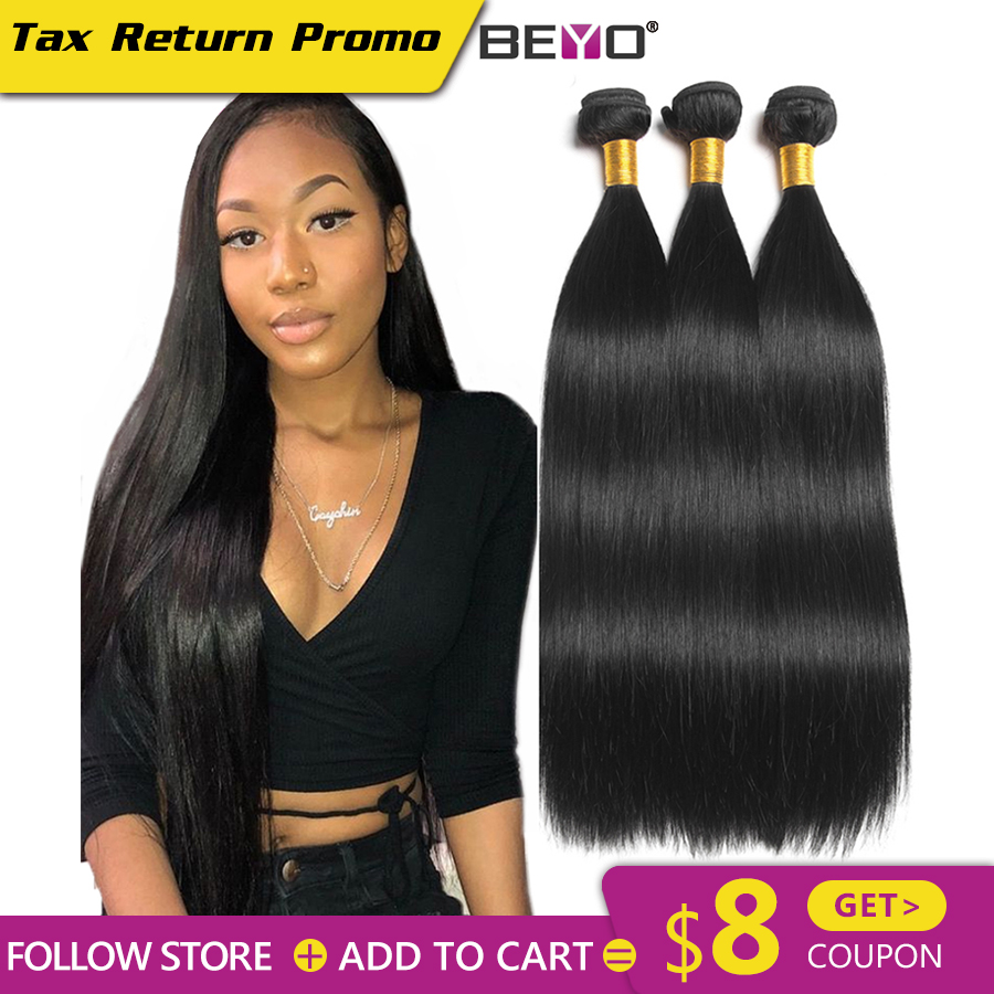 Beyo Straight Hair Bundles 100% Human Hair Bundles Non-Remy Hair - Human Hair (For Black)