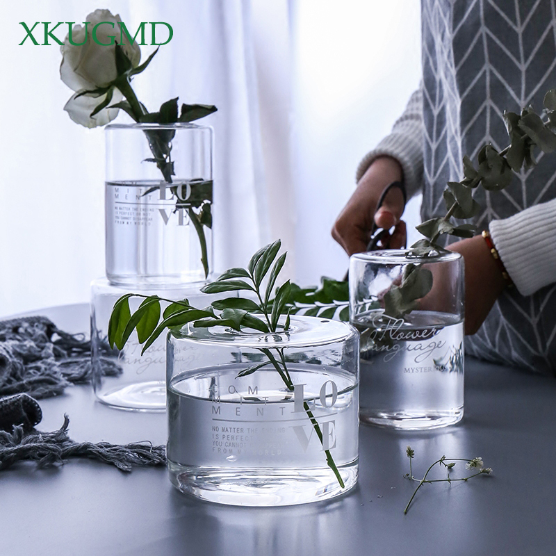 Terrarium Hydroponic Plant Vases Vintage Printing Flower Pot Transparent Vase Glass Tabletop Plants Garden Home Bonsai Decor