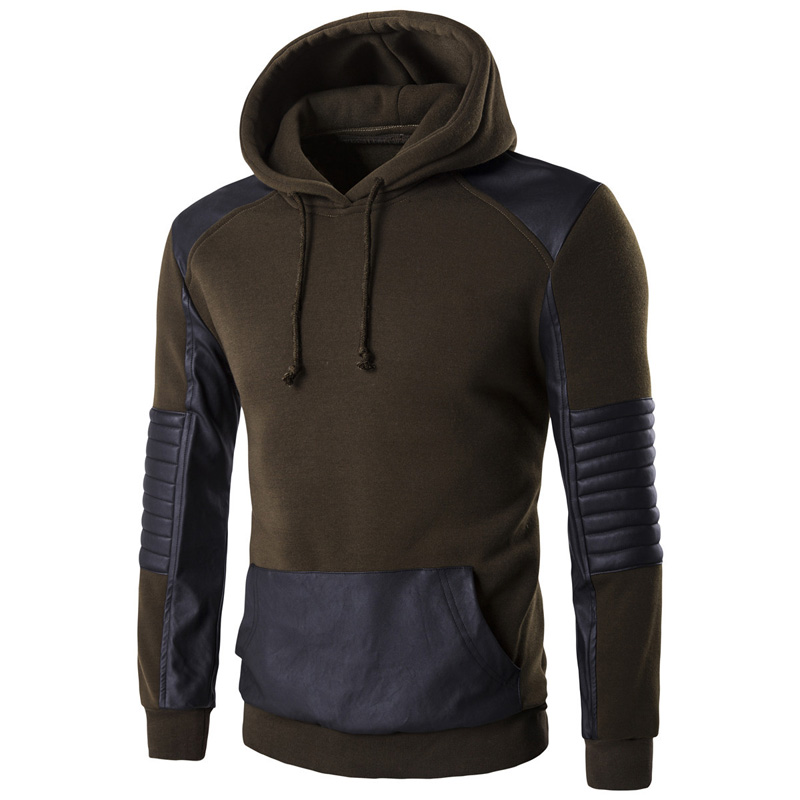 Hooded Sweatshirt Men 2017 Brand PU Leather Sleeve Mens Hoody Sweatshirt Casual Slim Fit Sweat Homme Hip Hip Pullover Sportswear