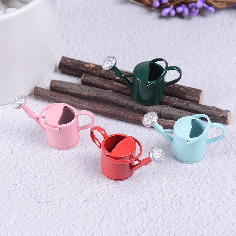 Tin Metal Dollhouse Miniature Watering Can Handicrafts Model Dollhouse Decoration White Dollhouse Accessories Classic Baby Toys