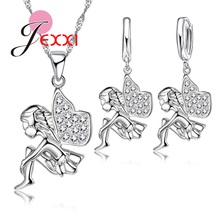 JEXXI Christmas Gift Sterling Silver Angle Pendant Necklace Hoop Earrings Jewellery Sets For Kids Girl Party Birthday Accessory
