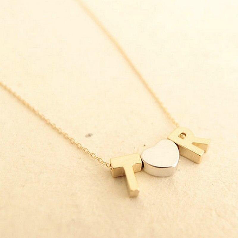 Personalizado collar del monograma inicial collar de oro fino cadena colgante de corazón nombre de la
