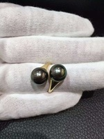 Fine Jewelry Natural Tahitian Pearl Ring Double Pearl 18K Gold Adjustable Size Fine Women Jewelry Wedding Anniversary