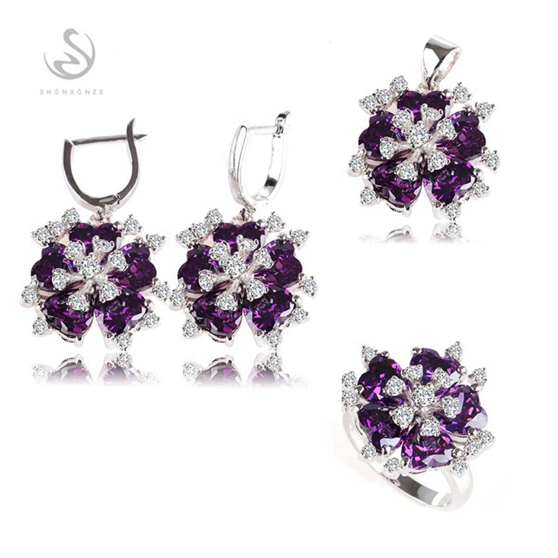 SHUNXUNZE boho wedding charm jewelry sets & more for women accessories Purple Pink Cubic Zirconia Rhodium Plated R507set R510set