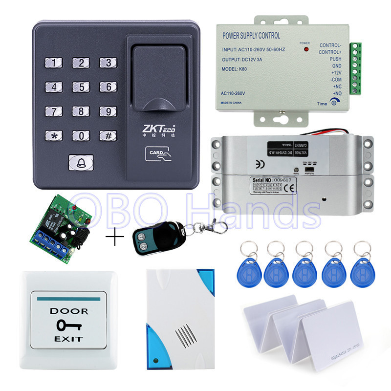 Biometric fingerprint access control X6+electronic drop bolt lock+power supply+exit button+door bell+remote control+key cards full rfid fingerprint scanner machine biometric access control f007em electric drop bolt lock power supply exit button keychains