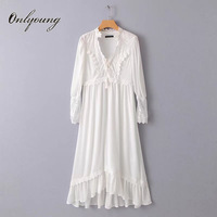 Onlyoung 2018 Summer Women Long Chiffon Dress Long Sleeve Sexy Crochet White Lace Maxi Tunic Beach Dress Robe Femme