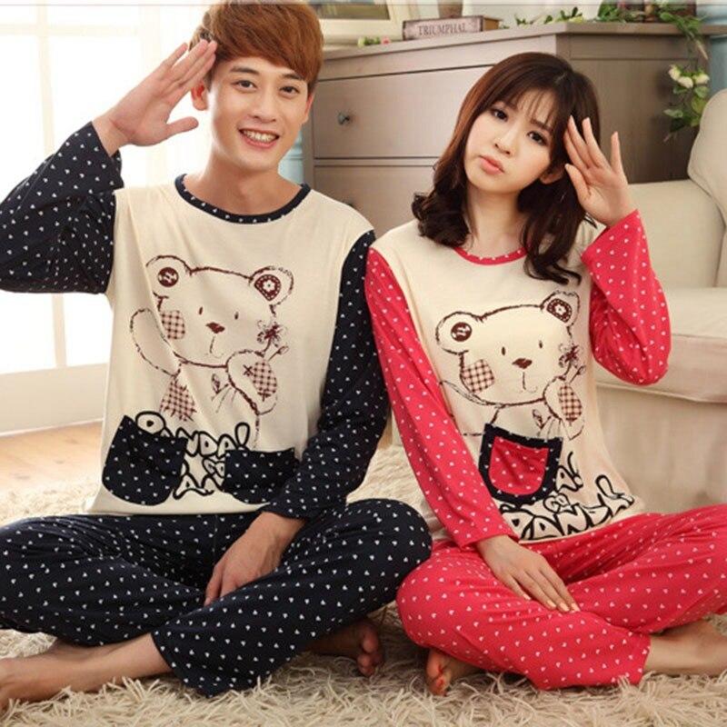 Couple Pajamas Set 2018 Spring Cotton Fabric Cartoon Women Pyjamas Plus Size M-3XL Long Sleeve Sleepwear Men Lounge Pijama