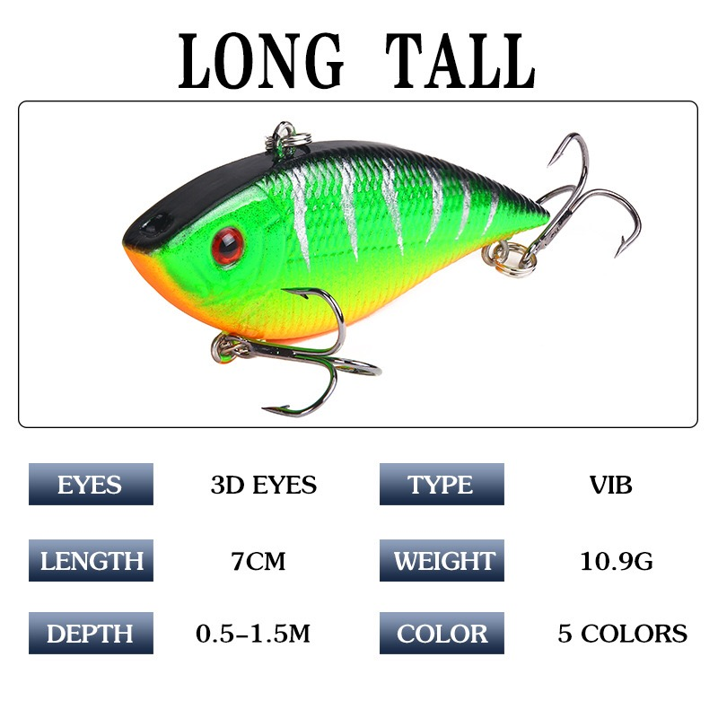 Image 2 - 1PCS Fishing Sinking VIB Lure 10g 7cm Vibration Vibe Rattle Hooks Baits Crankbaits  Wobbler Fishing Jig Wing Tackle-in Fishing Lures from Sports & Entertainment