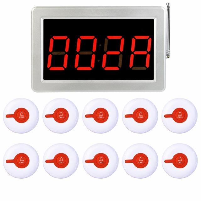 433 MHz Sem Fio Sistema de Chamada de Pager Restaurante 1 pcs Receiver Anfitrião + 10 pcs Chamar Botão do Transmissor Restaurante Equipamentos F3287B