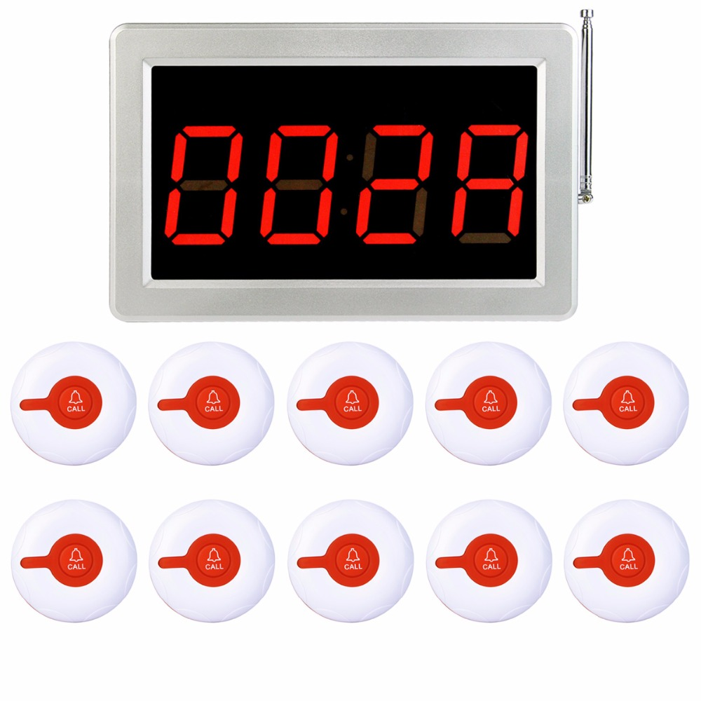 433MHz Wireless Restaurant Pager Calling System 1pcs Receiver Host+10pcs Call Transmitter Button Restaurant Equipment F3287B tivdio 433mhz wireless 2 wrist watch receiver 20 calling transmitter button call pager four key pager restaurant equipment f3285