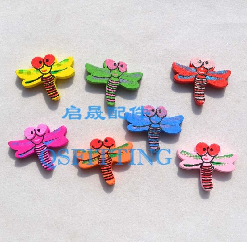 20 шт DIY Ювелирная фурнитура Детский отдел рукоделия браслет аксессуары смешанные формы деревянные бусины с мультяшным принтом животные разные цвета - Цвет: dragon fly
