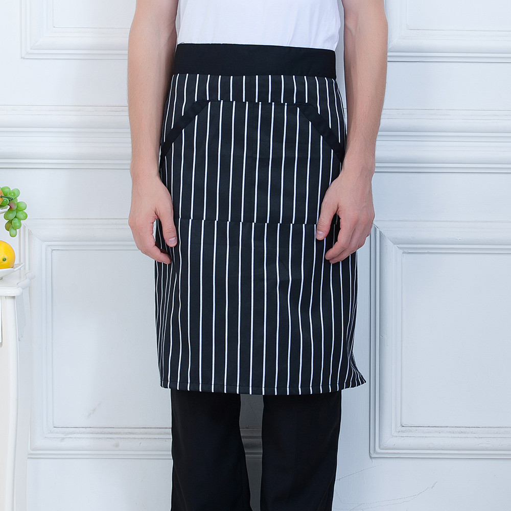 Unisex Chef Half Apron Spliced Pocket Aprons Food Service Restaurant Home Kitchen  Hotel Bakery Waiter Cooking Work Wear Uniform