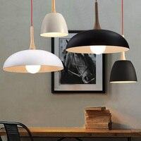 Nordic metalowa lampa wisząca twórcze restauracja oprawy oświetleniowe moda nowoczesne oświetlenie drewniane uchwyt pokrywka do patelni w stylu Art Deco oświetlenie w Wiszące lampki od Lampy i oświetlenie na
