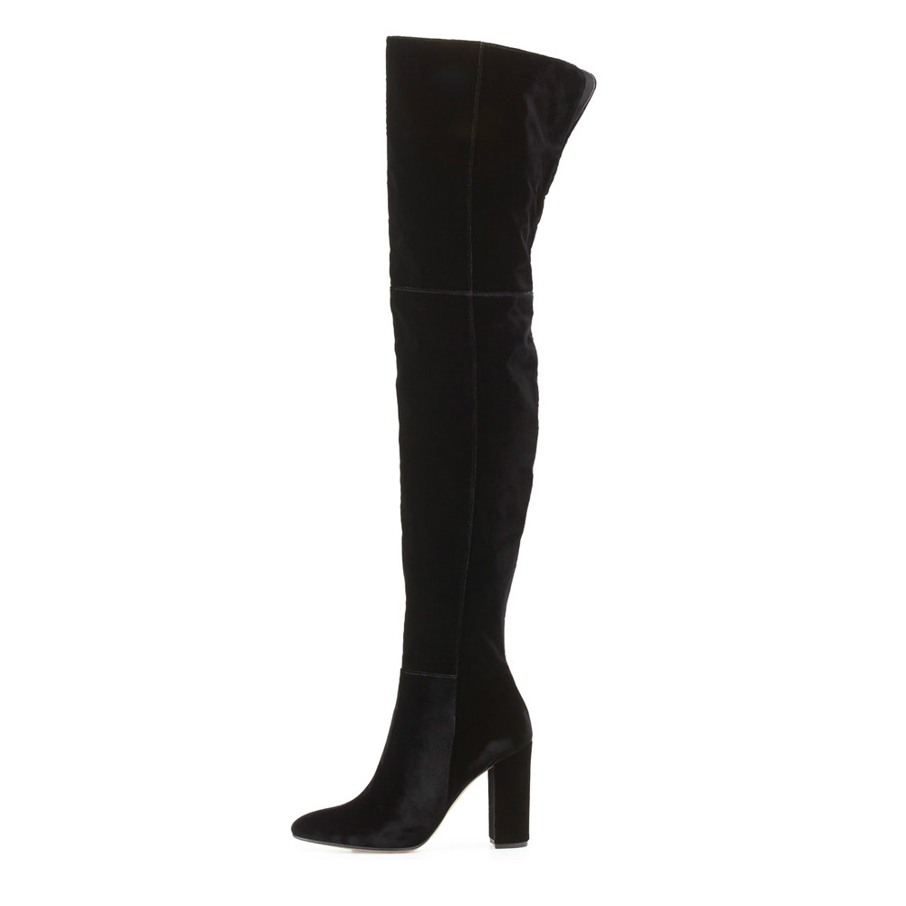 Velvet Leather Thick High Heel Thigh High Boots Faux Suede