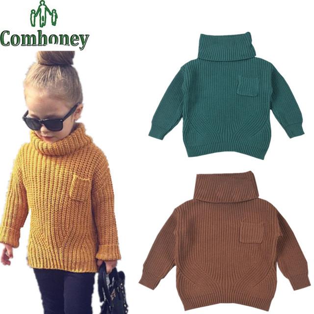 Baby Girl Boy Suéter Niñas Cardigan Otoño Suéter Caliente Niños Toddler Kids Jersey de Cuello Vuelto Jersey de Cuello Alto Niños Tops