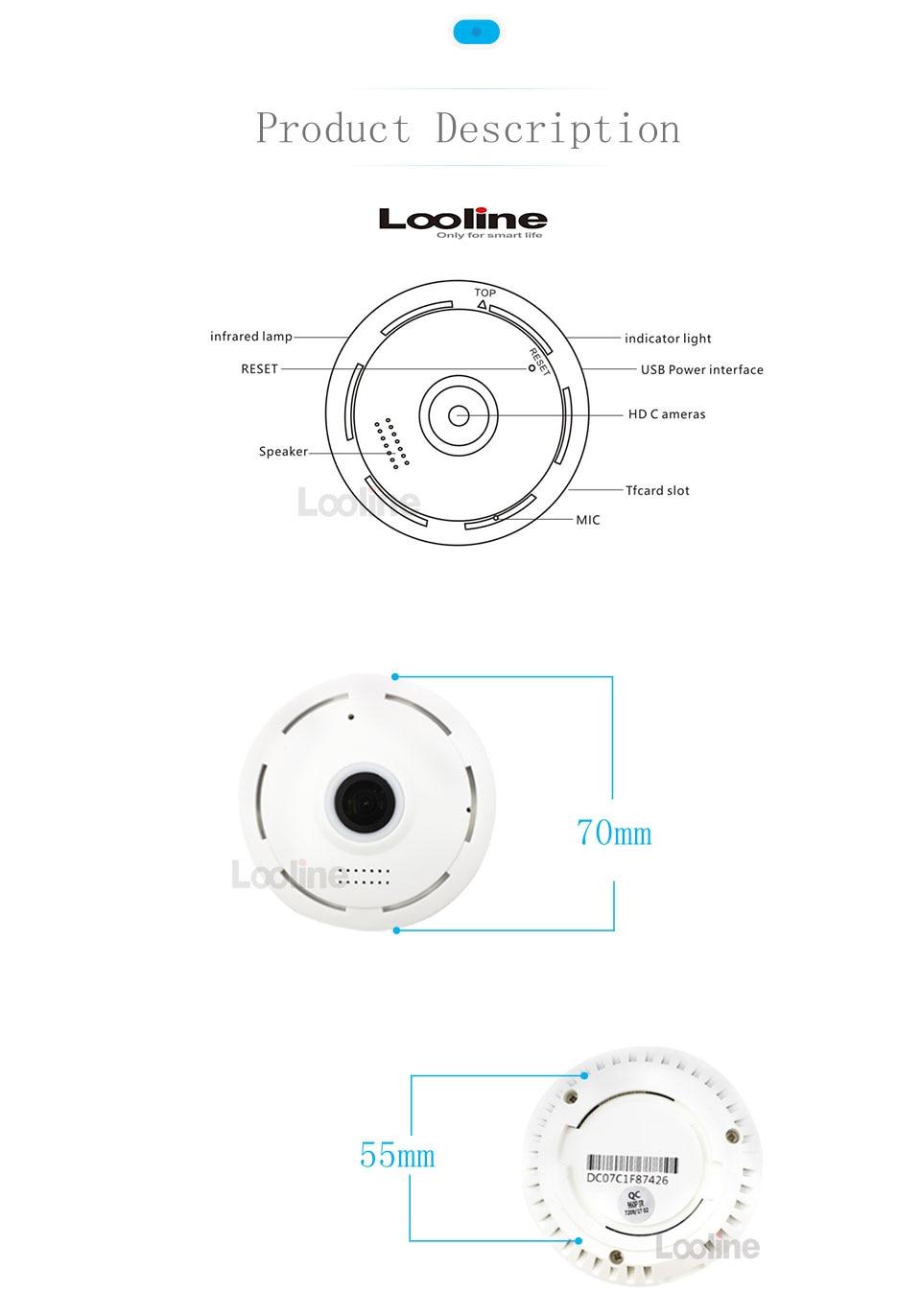 fisheye mini camera looline 360 degree home security wifi