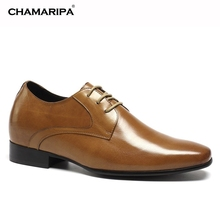 CHAMARIPA Increase Height 7cm/2.76 inch Elevator Shoes Genuine Leather Dress Shoes Make Men Look Taller