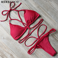 RXRXCOCO Bikini 2017 Sexy Bandage Bikini Set Solid Push Up Swimwear Women Padded Swimsuit Brazillian Bathing