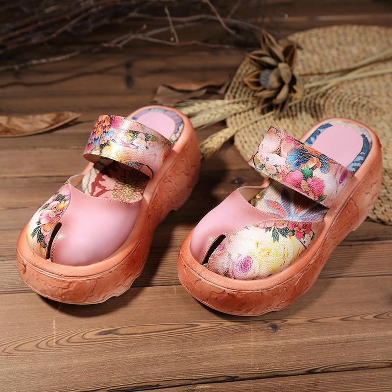 جولة تو ماري جينس حزام الرجعية العرقية أحذية الزهور طباعة شيك الصنادل الصيف الارتفاع زيادة النعال أحذية منصة-في كعب عالي من أحذية على  مجموعة 3