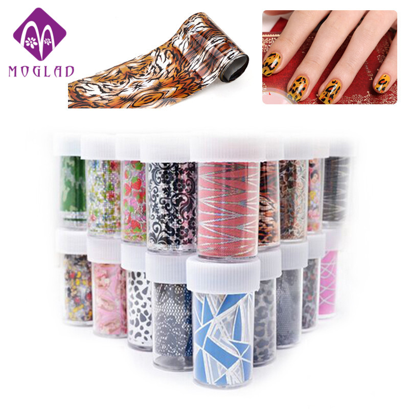 50Designs Nail Transfer Foil Sticker Paper Mix Creative Designs Nail Art Decals Decoration DIY Beauty Manicure Tools