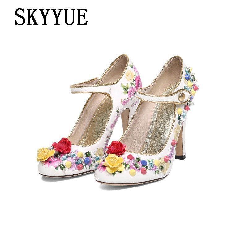4c8b3f4ec54a 2018 New Genuine Leather Elegant Lady Mary Janes Jewel Studded Women HIgh  Heels Pointed Toe Buckle Strap Women Pumps Shoes Women