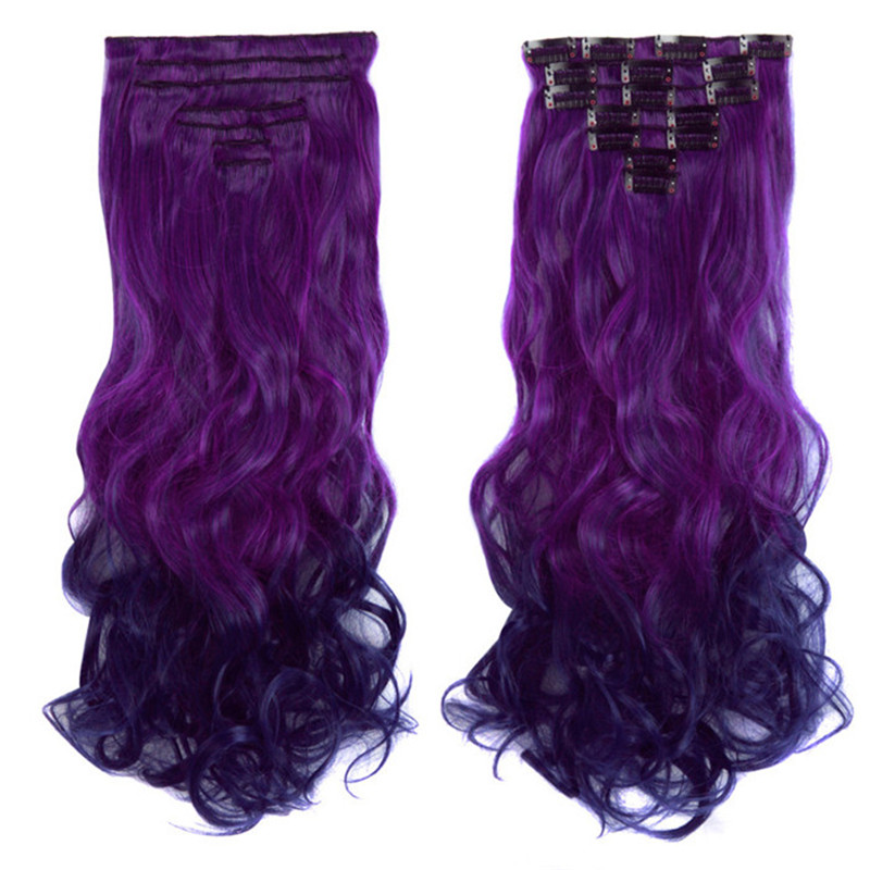 Long Wavy 7Pcs Clips In Hair Extensions Heat Resistant Synthetic Wigs For Women Black Brown Blonde Ombre Fake Hair MapofBeauty
