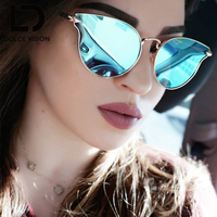 DOLCE VISION Pink Metal Frame Cat Eye Fashion Mirror Sunglasses Women Original Brand UV400 Shades Luxury