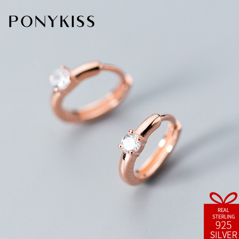 PONYKISS Romantic 100% 925 Sterling Silver Chic Cute Four-jaw Zircon Hoop Earrings Women Charm Accessories Birthday Party Gift