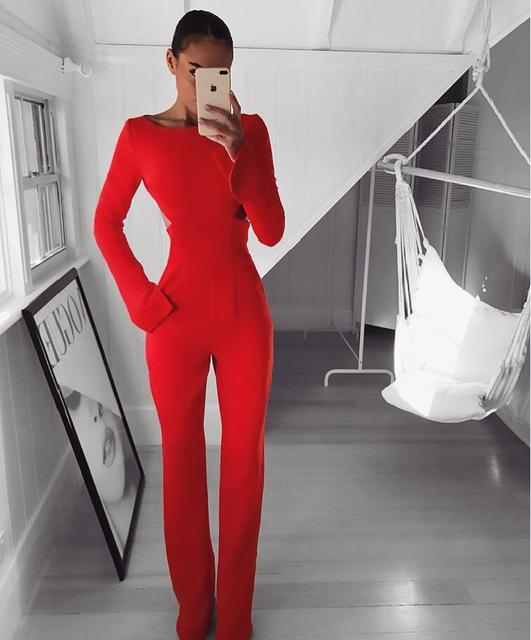 New Fashion Summer 2018 Sexy Long Sleeve Red Cotton Jumpsuit Elegant  Backless Jumpsuit For Women 9236997a91a1