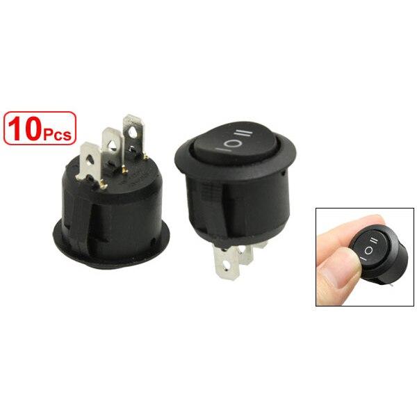 10PCS AC 6A//250V 10A//125V ON//OFF//ON SPDT Round Boat Rocker Switch 3 Position