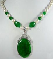 W O658 Charming Women S Jewelry Green Jade Pearl Necklace