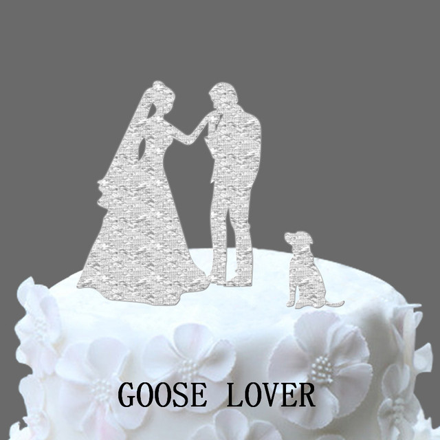WITH DOG Wedding Cake Topper Silhouette  Funny Wedding Cake Topper     WITH DOG Wedding Cake Topper Silhouette  Funny Wedding Cake Topper  Bride  and Groom