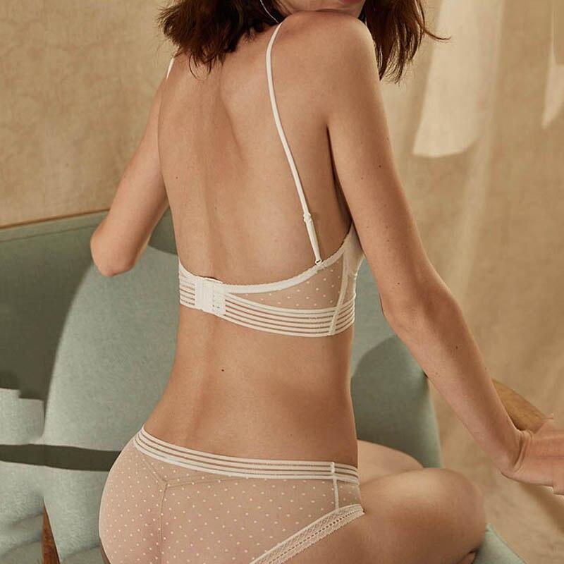 Image 4 - CINOON Fashion Mesh Sheer Bra Set Underwear Women Girls Wireless U shaped back Bra Panties Sets Embroidery Lace Lingerie Set-in Bra & Brief Sets from Underwear & Sleepwears