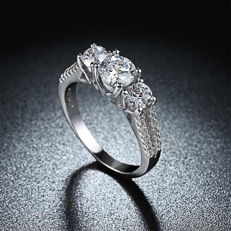 YANHUI Haben 18 KRGP Stempel Weißgold Ringe set 3 stücke Zirkonia Verlobungsringe Gold Farbe Hochzeit Schmuck Für frauen LR810