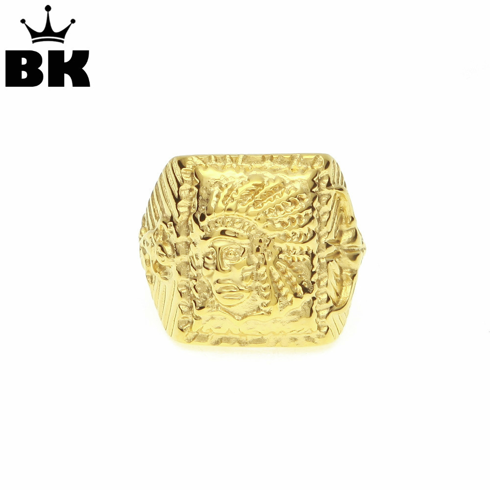 Stainless Steel Indian Chief Ring Gold Color High Polish Square Ring Engraved Jewelry