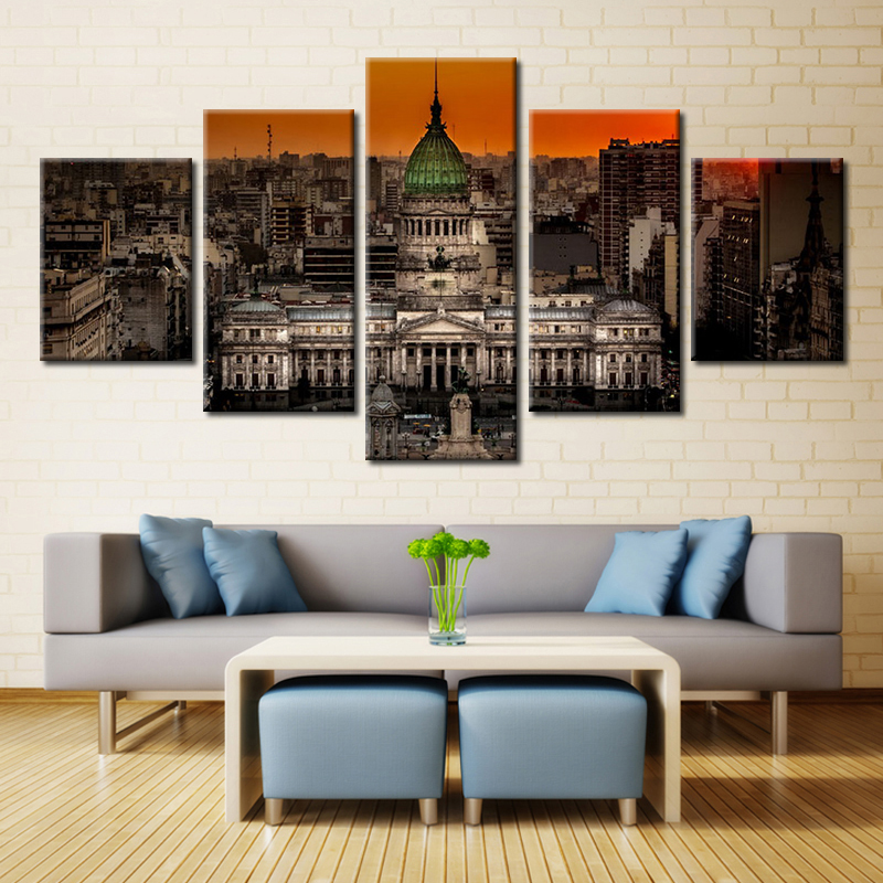 The Neon Lights LED Building Picture poster and Print on Canvas Painting for Living Room wall art home Decorations gift dropship
