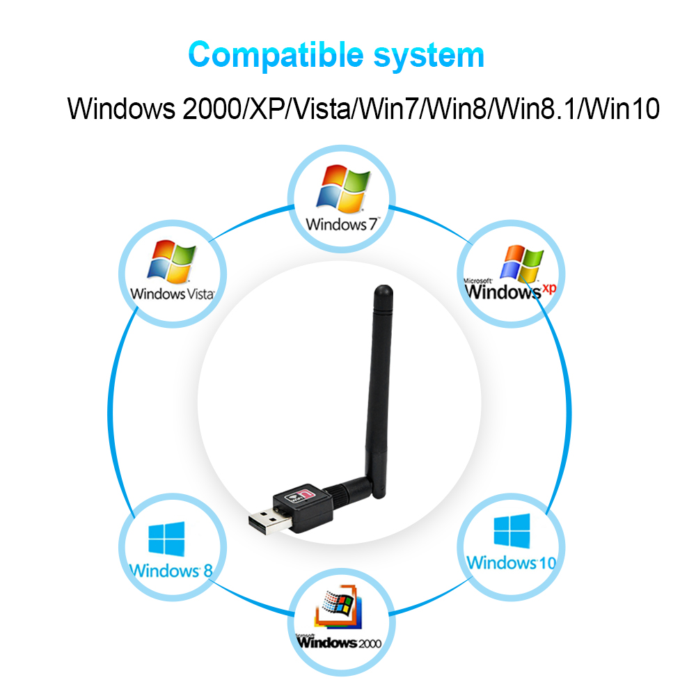 Image 5 - 150Mbps USB WiFi Antenna Adapter 2dBi Wireless Network Card 2.4G WiFi Dongle PC USB Ethernet Wifi Receiver MT7601 802.11b/n/g-in Network Cards from Computer & Office
