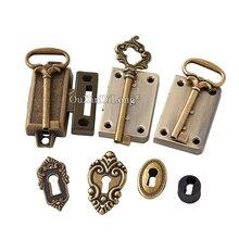 10 juegos Retro cerraduras de Metal antiguo Retro candado joyería cerradura para caja de madera para armario cajón gabinete con llave