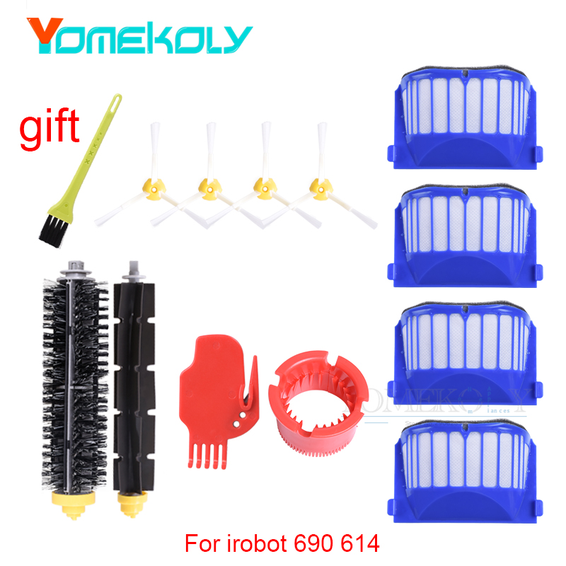 Brushes and Filters Kit for iRobot Roomba 600 Series 650 6530 620 615 605 Robotic Vacuum Cleaner Spare Parts frico cat c 3